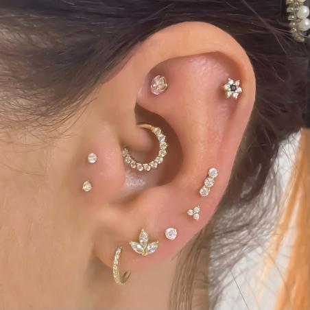 Piercing Cartilage Petit Trèfle or 18 Carats - 3