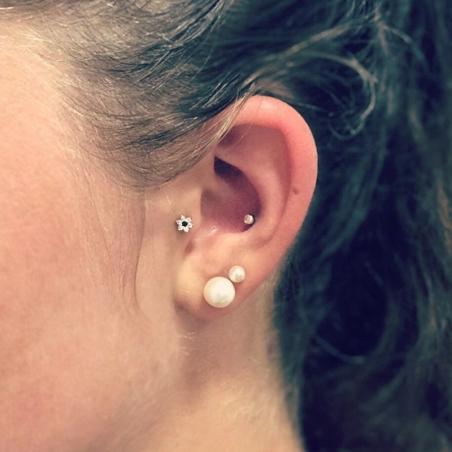 Bijoux Piercing oreille en Or Fleur serti griffe oxyde de zirconium - 4